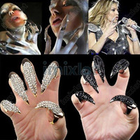 Cluster Rings acrylic nail jewelry - 10X Crystl rhinestone Claw Oval Rings nail Paw Talon Finger Oval Punk Ring Jewelry VR84 VR85 M