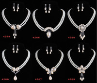 Wholesale Promotion Pearl Necklace and Earrings Jewelry set Double Row sets