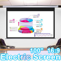 Wall Mounted electric projection screen - 100 quot Electric Projector Projection Screen X49 Motorized Diagonal Matte