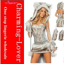 Wholesale 2012 HOT selling deluxe wolf costumes Faux fur animal sexy costumes for adult fancy party costume