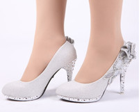 Wholesale Hot Sales Women s Fashion High heeled Shoes Silver Flowers Bride Wedding Dress Shoes Size Exceptional Quality