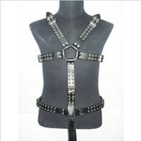 Restraints Clothing Unisex  The leather body of men's body suit costume bondage A017 chastity Adult sex toys