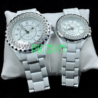Luxury lovers' Quartz 1Pair Bling Crystal Luxury Mens Womens SINOBI Ceramic Band Japan Movement Lover Watches 0082002