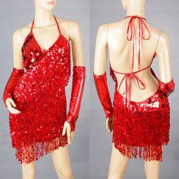 Dame ville en Ligne-2012 Hot Lady Cocktail Club Wear Party Danse latine Asymétrique Sequin frange ville robe 2051