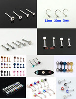 316L surgical stainless steel belly pin - 200pcs Mixed Type Body Jewelry Labret Spike Nostril Pin Ear Studs Belly Button Ring Body Piercing