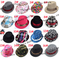 Wholesale Various Designs Kids Fedoras Children Trilby Top Hat Toddler Cowboy Hat Dicers Baby Hat Caps LM
