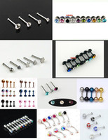 Titanium assorted rhinestones - 300pcs Assorted Eyebrow Ring Lip Spikes Tongue Rings Ear Bar Navel Piercing Body Jewelry Sets