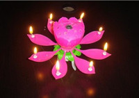 Wholesale Beautiful Musical Blossom Flower Candle Birthday Party Music Candle Lotus Wedding Decorations