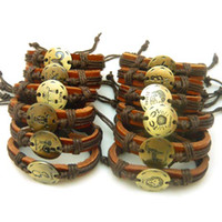 Wholesale Twelve Constellations Leather Bracelets Leather Wrap Bracelets New Leather Bracelet For Men