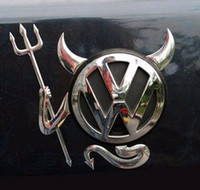 Wholesale 50pcs Auto Body Post D stereo car PVC stickers Silver Cool demon stickers devil automobile label