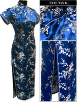 Wholesale Chinese Silk Satin Cheong Sam Qipao Evening Dress plum flower