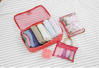 Wholesale 3pcs set Nylon Storage Bag Clothes Bag Travel Make Up Cosmetic Bags Save Space Suit Red Khaki