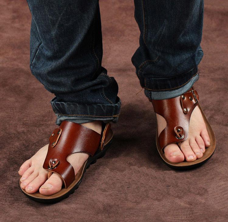 Men S Casual Folder Toe Sandals Wild Fashion Leather