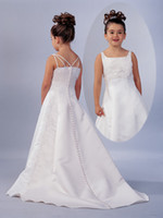 Wholesale Stain With Lace Beautiful Charming Sweet Flower Girl Dresses Square A Line Sweep Train