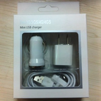 Wholesale White Set USB in Car Charger Wall Charger Power Adapter Data lines for iphone S G G GS