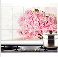 Wholesale 50 psc Hearth prevent oil wall sticker heat resistant kitchen sticker aluminum foil stick