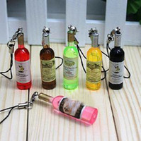 Wholesale Mini Wine bottles Simulation food squishy chain mobile phone strap cell phone charm
