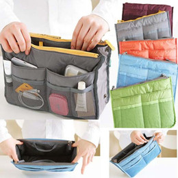 Free shipping Women Travel Insert Handbag Purse Large liner Organizer Bag Storage Bags Amazing 5 Colors #3462