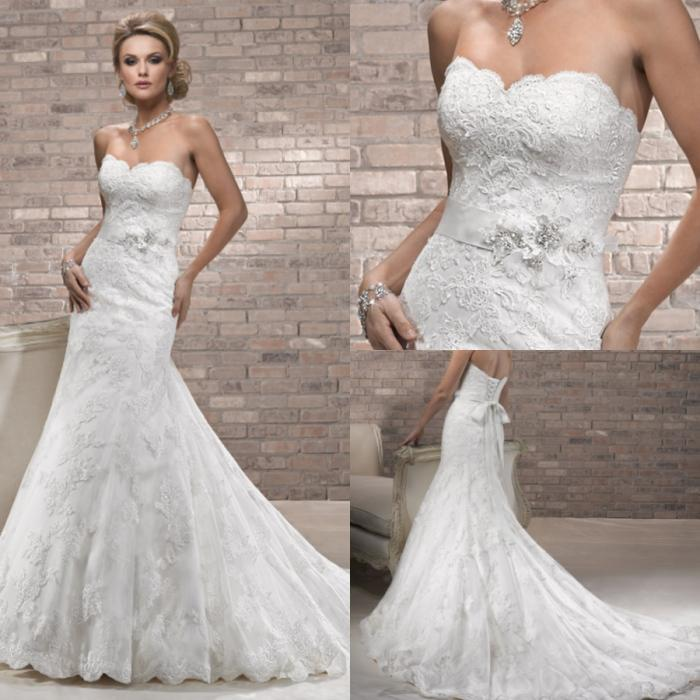 2012 Charming Lace Mermaid Sweetheart Neckline Ivory Flower Court ...