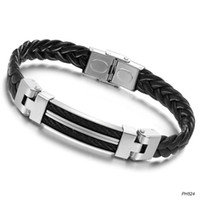 asian skins - Fashion jewelry personality charm between black titanium skin steel bracelet PH524
