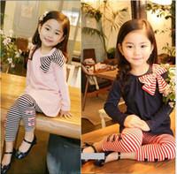 3-6Years children clothing - Children Clothing Set Girl Clothing Sets Long sleeve T Shirt Stripe leggings Autumn Girl Wears