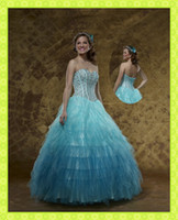 2016 Corset Beaded Bodice Tulle Ruffle Skirt Summer Ball Gow...