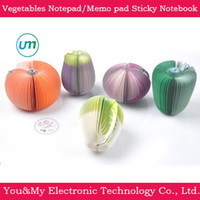 Wholesale Vegetables Shape notebook office Paper notes Notepad Memo pad Sticky Notebook with opp bag