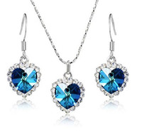 Wholesale R007 Titanic Austria crystal ornaments colour heart earrings Mixed color