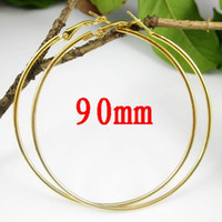 Wholesale 90mm Gold Plated Basketball Wives Hoops Earrings Big Circle Loops Earrings pairs