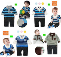 Wholesale Spring Autumn Cotton Baby Boys Long Sleeves Stripe Tuxedo Romper Body Suits Formal Jumpsuits