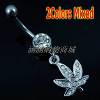 Alloy wholesale belly rings - Maple Leaf Pendant Belly Button Rings Navel Rings Belly Rings Belly Button Piercing Rings On Belly
