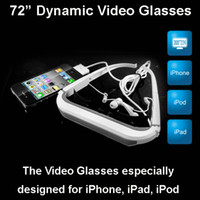 Wholesale 72 quot Dynamic Virtual Digital Video Glasses Eyewear for iPhone iPad iPod touch private theater system