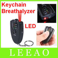 Wholesale 250pcs Keychain Digital Breathalyzer Alcohol Analyzer Breath Tester LED Flashligh Key chain