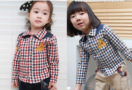 Wholesale baby boy girl plaid shirt long sleeve shirts kids cool t shirt soft wear cute cartoon shirt colors