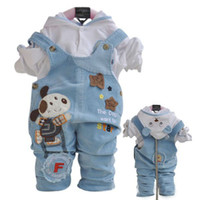 Wholesale boys suits hooded shirts suspender pants baby boys set cartoon clothing color choose