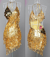 Wholesale Hot Lady Cocktail Club Wear Party Latin Dance amp Race Asymmetric Sequin Fringe City Dress