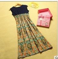 air free national - Hot New chiffon dress Bohemian national air chiffon long paragraph Floral thin dress