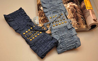 Black Wide Women Hot Sale Denim fabric Lady's Girdle Elastic Waist Chain Belt Bronze Rivets Wide Belts