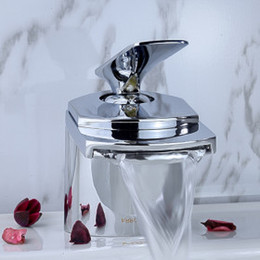 bathroom waterfall sink faucet chrome finish basin single hole mixer