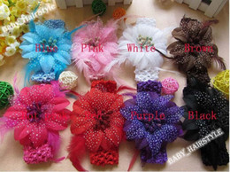 Wholesale 3 inch color Feather flower Baby Crochet Headwear Toddler Hairclips Infant Hair clips