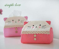 Wholesale 10pcs Tissue Cover For Car Home Lovely Cat Pink amp Red plush tissue box cover China