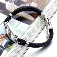 Wholesale new design personality silicone bangle bracelet cuff jewelry with stainless steel or retail PH521