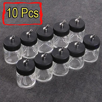 Wholesale 10pcs Airbrush Air Brush Glass Bottle Jar w Standard Suction Lid Pump Spray Top
