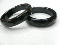 Wholesale Gemstone rings Faceted Onyx Rings Faceted Black agate round rings mm width
