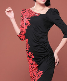 Wholesale Euramerican Women pop rose print Slim Fit one piece dress Lady s Midi sleeved dress color red black