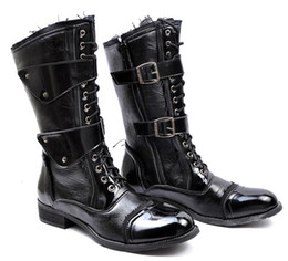Men's Leather Shoes Knee-High Boots,Punk Rivets Buckles Lace-Up Leather Casual Winter Outdoor Cowboy Boots,EU Size 39-44