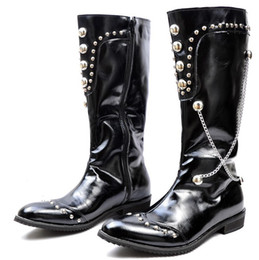 Black Color Men's Shoes Knee-High Boots,Punk Rivets Chains Side Zipper Leather Casual Winter Outdoor Boots,US Size 6.5-10