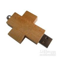 Acheter 8gb pc-30 pcs mémoire disque flash usb en bois Croix forme usb 4GB 8GB 16GB USB Flash Drive de DHL