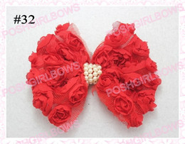 free shipping 100pcs 3.5'' chiffon flower silk rose flower clips Assorted Lace fabric flower pin