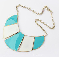 Wholesale Blue white line inlay necklace European and American popular necklace